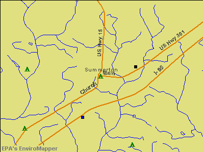 Summerton, South Carolina environmental map by EPA