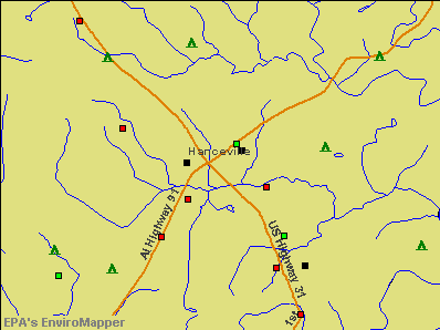 Hanceville, Alabama environmental map by EPA