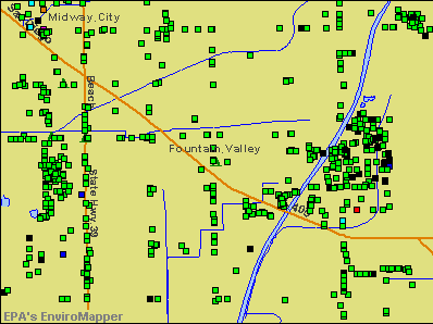 Fountain Valley, California environmental map by EPA