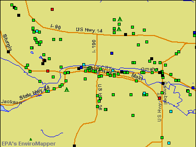 Rapid City, South Dakota environmental map by EPA