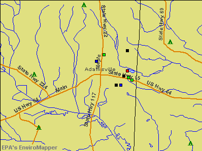 Adamsville, Tennessee environmental map by EPA
