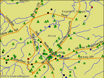 Alcoa, Tennessee environmental map by EPA