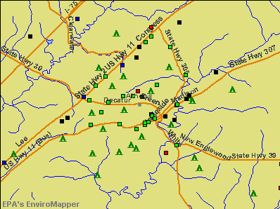 Athens, Tennessee environmental map by EPA