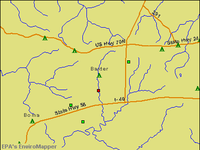 Baxter, Tennessee environmental map by EPA