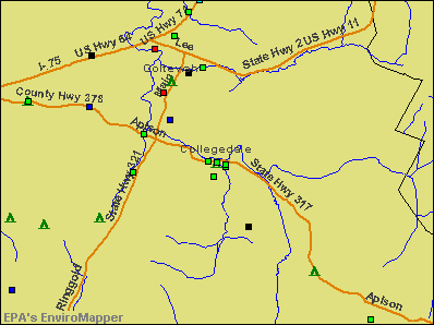 Collegedale, Tennessee environmental map by EPA