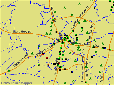 Franklin, Tennessee environmental map by EPA