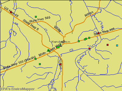 Henderson, Tennessee environmental map by EPA