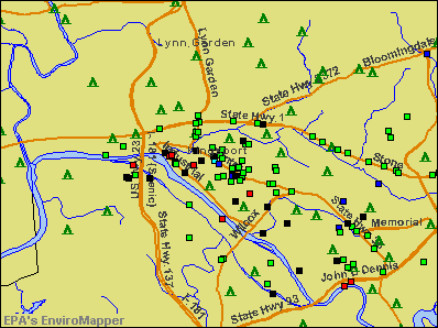 Kingsport, Tennessee environmental map by EPA