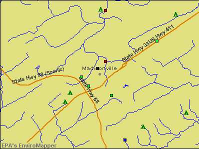 Madisonville, Tennessee environmental map by EPA