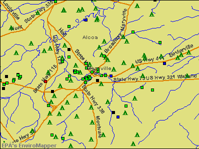 Maryville, Tennessee environmental map by EPA