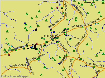 Morristown, Tennessee environmental map by EPA