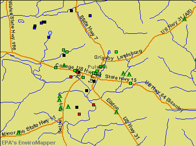 Pulaski, Tennessee environmental map by EPA