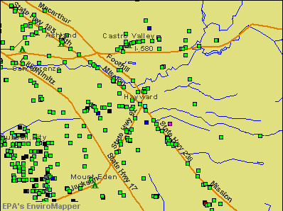 Hayward, California environmental map by EPA