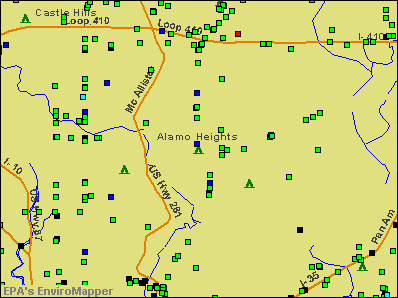 Alamo Heights, Texas environmental map by EPA