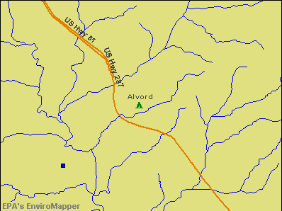 Alvord, Texas environmental map by EPA