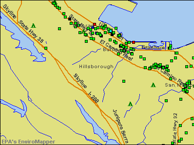 Hillsborough, California environmental map by EPA