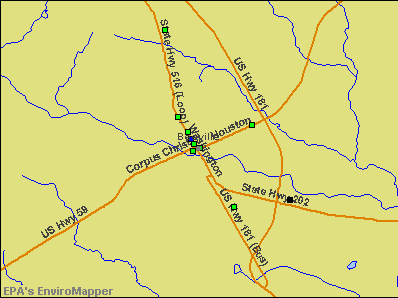 Beeville, Texas environmental map by EPA