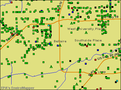 Bellaire, Texas environmental map by EPA