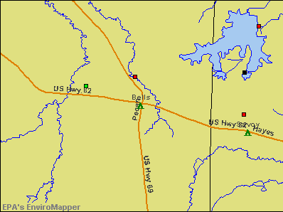 Bells, Texas environmental map by EPA