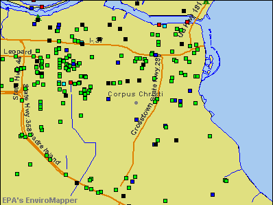 Corpus Christi, Texas environmental map by EPA