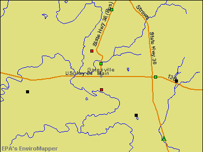 Gatesville, Texas environmental map by EPA