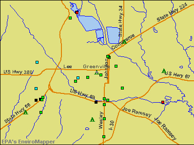 Greenville, Texas environmental map by EPA