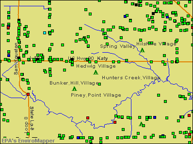 Hedwig Village, Texas environmental map by EPA