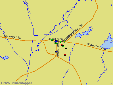 Kaufman, Texas environmental map by EPA