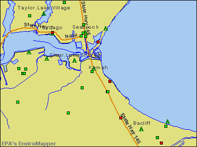 Kemah, Texas environmental map by EPA