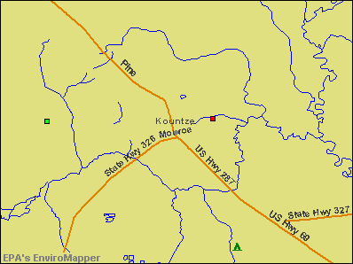 Kountze, Texas environmental map by EPA