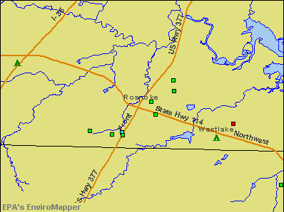 Roanoke, Texas environmental map by EPA