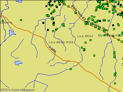 Los Altos Hills, California environmental map by EPA