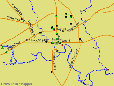 Seguin, Texas environmental map by EPA
