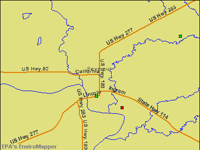 Seymour, Texas environmental map by EPA