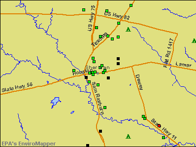 Sherman, Texas environmental map by EPA
