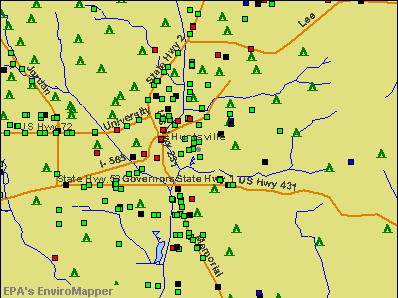 Huntsville, Alabama environmental map by EPA