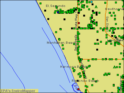 Manhattan Beach, California environmental map by EPA
