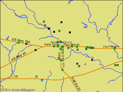 Weatherford, Texas environmental map by EPA