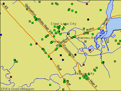 Webster, Texas environmental map by EPA