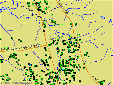 Milpitas, California environmental map by EPA
