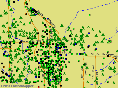 Salt Lake City, Utah environmental map by EPA