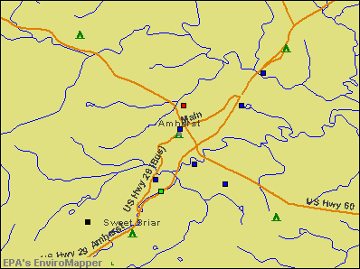 Amherst, Virginia environmental map by EPA