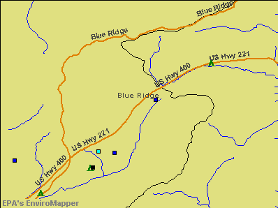 Blue Ridge, Virginia environmental map by EPA