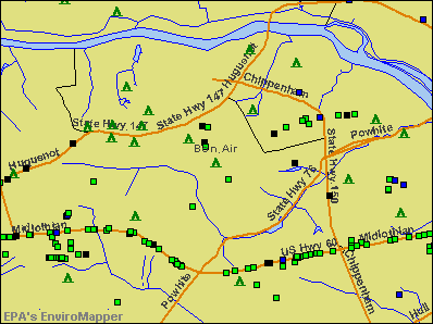Bon Air, Virginia environmental map by EPA