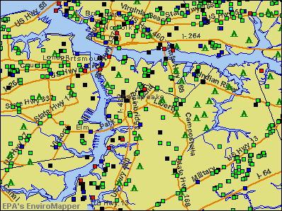 Chesapeake, Virginia environmental map by EPA