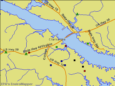 Clarksville, Virginia environmental map by EPA
