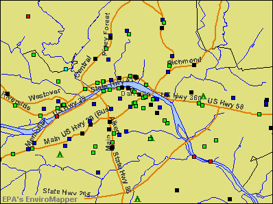 Danville, Virginia environmental map by EPA
