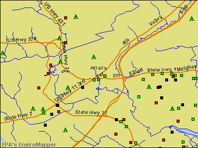 Attalla, Alabama environmental map by EPA