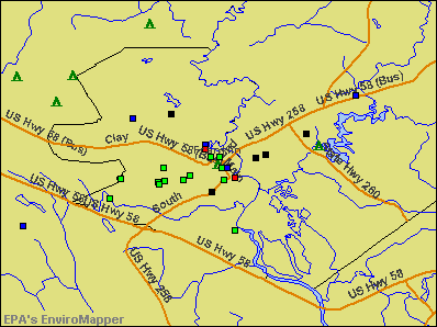 Franklin, Virginia environmental map by EPA