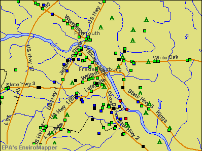 Fredericksburg, Virginia environmental map by EPA